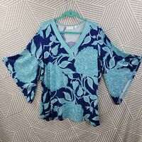 Plus size 1X 16/18 Shirt Tunic Top pullover Boho Peasant Bell Sleeve Hawaiian