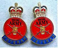 2 x BRITISH ARMY VETERAN ENAMEL PIN BADGE UK VETERAN REMEMBRANCE DAY  POPPY DAY