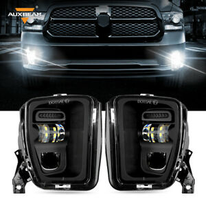 AUXBEAM Black Front Bumper LED Fog Lights Fit for Dodge Ram 1500 2013-2018 Pair