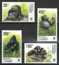 WWF Gorillas set of 4 mnh stamps 2002 Zaire #1638-41