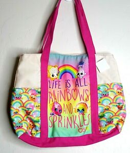 Shopkins Life Is All Rainbows and Sprinkles Bright Canvas Tote Bag Lined