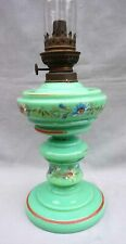 Victorian Enameled Opaline Glass Oil Lamp Kosmos Burner 19th C