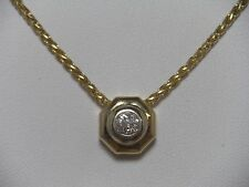 14K Yellow Gold Diamond Pendant .28 ct. Solitaire & 14K Wheat Chain Necklace