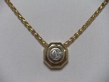 14K Yellow Gold Diamond Pendant .28 ct. Solitaire & 14K Wheat Chain Necklace