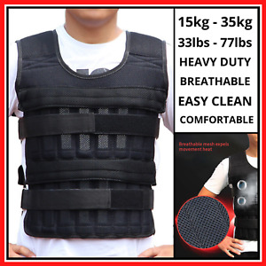 15/35kg Adjustable Weighted Vest Fitness Training Running Gym Exercise Waistcoat
