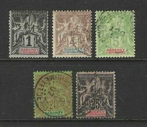 FRENCH DAHOMEY 1899-1905 TABLET TYPE ISSUES - GOOD MOUNTED MINT AND USED
