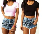 Womens Ladies Short Sleeve Crop Top T-Shirt Vest Round Neck Stretch Plain 6-12