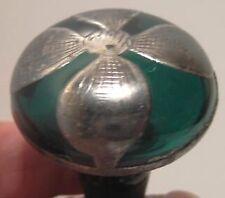 Old Green Glass Perfume Bottle Stopper w/ Silver Inlay Flower Petal NICE!