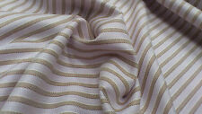 BROWN STRIPE ON PALE LILAC PURE LINEN FABRIC : SELLING BY 1/2 METRE : #CGL07