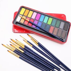 24-block Watercolour Paint Tin and 12 Brushes (12 sizes)  Arts Crafts Painting
