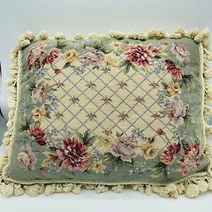 "Floral Needlepoint Pillow Tassels Velvet Back 21"" x 17"" Cottage Core Flowers"