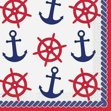 SUMMER Nautical Anchors LUNCH NAPKINS (16) ~ Birthday Party Supplies Dinner Red