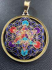 "Metatron's Cube Flower Of Life Pendant 1 5/8"" Tourmaline Gemstone Necklace #Gift"