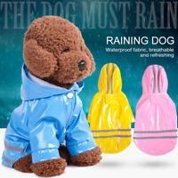 5Color Waterproof Dog Hooded Raincoat Rain Coat Pet Jacket Puppy Clothes Costume