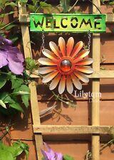 Metallic Garden Blue Flower Welcome Hanging Sign Summer Wall Fence Decorations