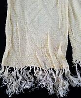 A40 Antique Vtg Scarf Yellow Cream Silky Women's Costume Reenact Fabric