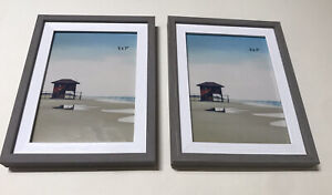 """(2 PACK) 5x7"""" Photo Picture Frame - Grey and White Veneer [New, Room Essentials]"""