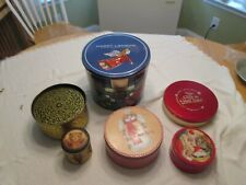 Christmas Tins 6 Gifting Decorative Storage Display Stained Glass Angels Teddies