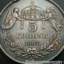 SCC Hungary 5 Korona 1907 KB. KM#488. Silver Corona Crown Dollar coin. Angels.