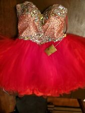NEW quinceanera dress Jeweled Beaded Strapless mini red sexy Organza PROM Gown L