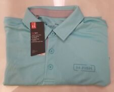 Under Armour Heatgear Performance Fish Golf polo Loose fit baby blue Size Large