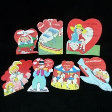vtg Valentines Day child cards approx 1940s - 1950s die  cut, Lot 8, 3 unsigned