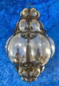 Rare Antique Italian Hand Blown Seguso Murano Glass Light Pendant Wrought Iron.