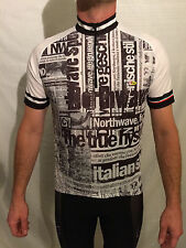 Northwave Men's Newspaper Print Cycling Jersey, Large, White/Black, RRP £45