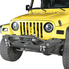 Front Bumper w/ 2x LED Lights Texture Black for Jeep Wrangler YJ TJ 1997-2006
