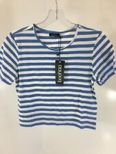 BOOHOO WOMEN'S LILY STRIPE. T SHIRT & SHORTS SET BLUE/WHITE SMALL NWT