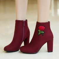 WOmen's Suede Leather High Block heels ROund toe Ankle Boots embroidered Shoes