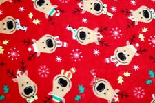 CHRISTMAS REINDEER WITH DECORATIVE SCARVES ON RED COTTON FLEECE 2 YDS 60 X 72""