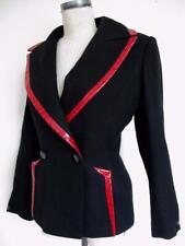 Vintage Terry Paris Blazer Jacket Ostrich Embossed Leather Black Red 8 Us 40 Fr