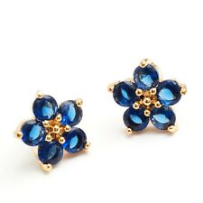 Noble Jewelry  24K Gold Filled Blue C.Z Women's Stud Earrings Gift Box Packing