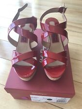 """Ferragamo Persy Red Patent Leather 4"""" Wedge Shoes Size 8 Italy"""