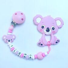 Schnullerkette Schnullerband Nuckelkette Beißkette Beißring rosa weiß pink Koala