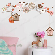 Bird Cage Tree Flower Wall Stickers Mural Wallpaper Decor Home Art Wall Decal