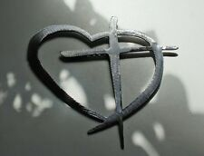 Heart & Cross  Silver HANGING METAL WALL ART DECOR