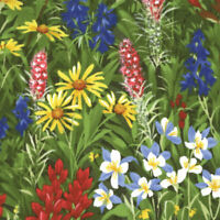 MODA Mixed Wildflower Texas Paintbrush Bluebonnet 100% cotton fabric by the yard