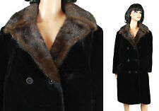 Vintage Princess Coat Sz L XL 60s Long Black Faux Fur Brown Mink Collar Jacket