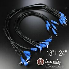 10 Pack Effects Pedal Dc Power Patch Cables Cords Pedalboard 5.5mm / 2.1mm 18Awg