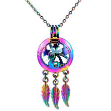 C764 Dream Catcher Star Cat Pearl Cage Locket Necklace Girl Kid Gift Charms