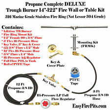 "TB122CK+: DIY DELUXE PROPANE FIRE PIT KIT & 122"" LINEAR 316 STEEL TROUGH BURNER"