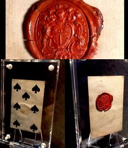 Museum Quality Historic Antique Playing Cards Red Wax Seal Family Crest Artifact