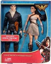 DC Comics Wonder Woman & Steve Trevor Action Figure Barbie Doll 2 Pack ~ NEW~