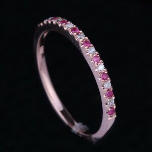 Sale Solid 10K Rose Gold Ruby Diamond Jewelry Band Engagement Wedding Fine Ring