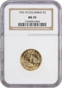 1992-W Columbus $5 NGC MS70 - Modern Commemorative Gold