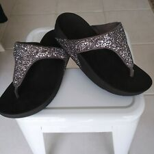 FitFlop Lulu Glitter Sandals Women's Size 7 Black Sparkle Wedge Comfort