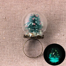 CHRISTMAS TREE FESTIVAL GLOW IN THE DARK SNOWBALL GLASS RING GIFT FINGER RINGS