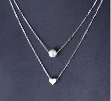 925 Sterling Silver - Korea Pretty 2-Layer Pearl Loving Heart Women Necklace